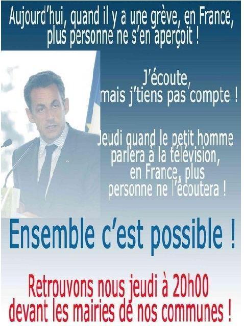 """Boycott de l'intervention de Sarkozy dans l'émission """"Face à la crise"""", jeudi 5 février 2009."""