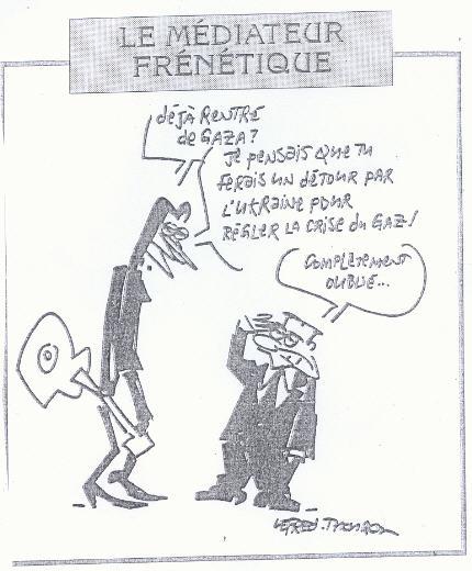 Sarkozy, caricature de Lefred-Thouron 7 janvier 2009.