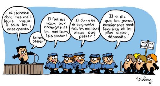 Sarkozy présente ses meilleurs voeux aux enseignants pour 2009, dessin de Martin Vidberg.