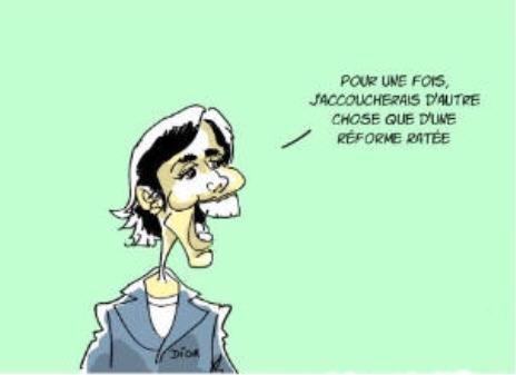 L'annonce de la grossesse de Rachida Dati caricature septembre 2008.